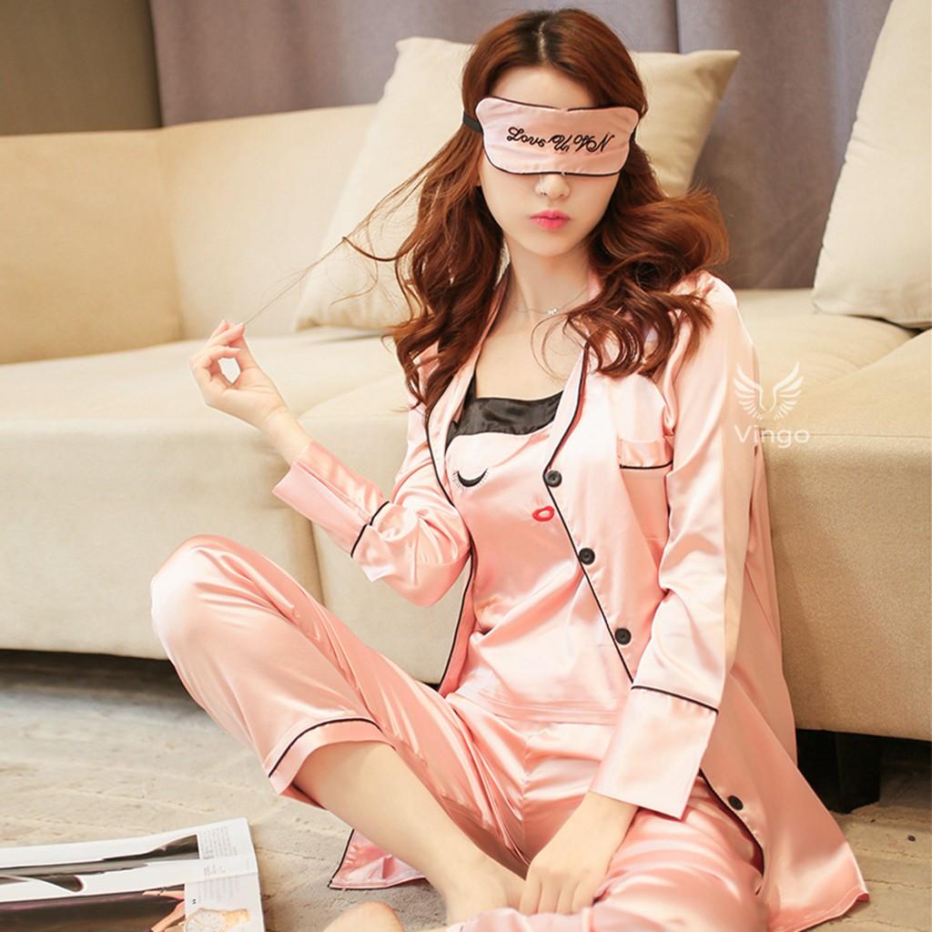 Bộ đồ ngủ pijama lụa cao cấp san hô Lovely girl thương hiệu Vingo - 3304053 , 734300920 , 322_734300920 , 525000 , Bo-do-ngu-pijama-lua-cao-cap-san-ho-Lovely-girl-thuong-hieu-Vingo-322_734300920 , shopee.vn , Bộ đồ ngủ pijama lụa cao cấp san hô Lovely girl thương hiệu Vingo