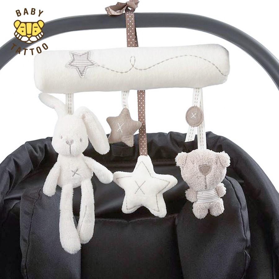 Chuông nhạc đồ chơi treo xe hoặc giường ngủ cho bé hình thỏ trắng & gấu nhỏ dễ thương