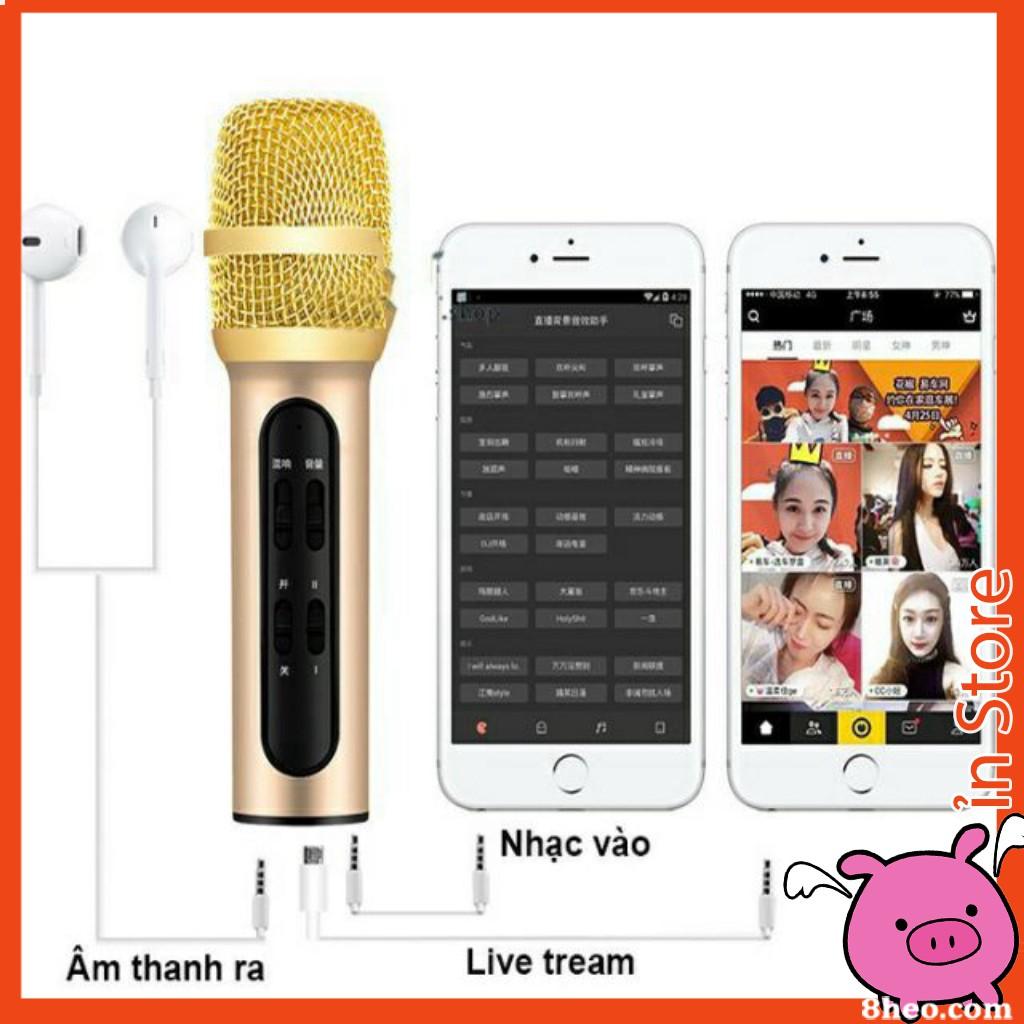 ivn147 Bộ Micro C11 Live Stream, Hát Karaoke Chuyên Nghiệp Mới, Đầy Đủ Phụ Kiện Tai Nghe, Cáp Sạc, Dây LiveStream