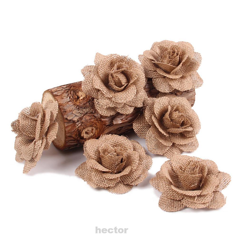 Craft DIY Decor Gift Wrap Hair Accessories Hand-Woven Linen Cloth Vintage Wedding Favors Stimulation Burlap Rose