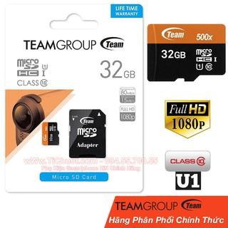 [Mã ELFLASH5 giảm 20K đơn 50K] [Chính Hãng Team] Thẻ nhớ 32Gb 80Mb/s UHS-1 500X MicroSDHC, Bảo Hành 2 năm