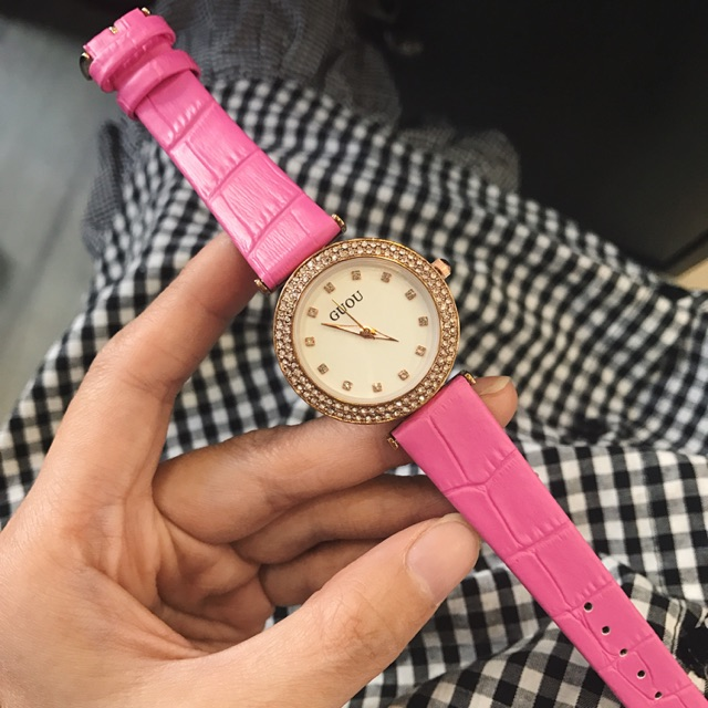 Đồng hồ dây da nữ Guou