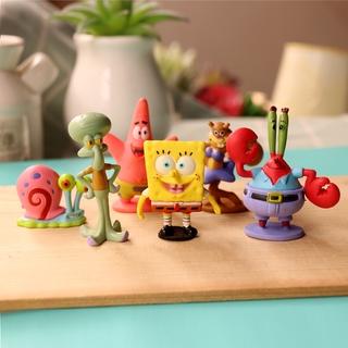 6pcs Cartoon Spongebob Toy Pvc Cake Decoration Doll Model Mainan Action Figure Building Block Play Doh