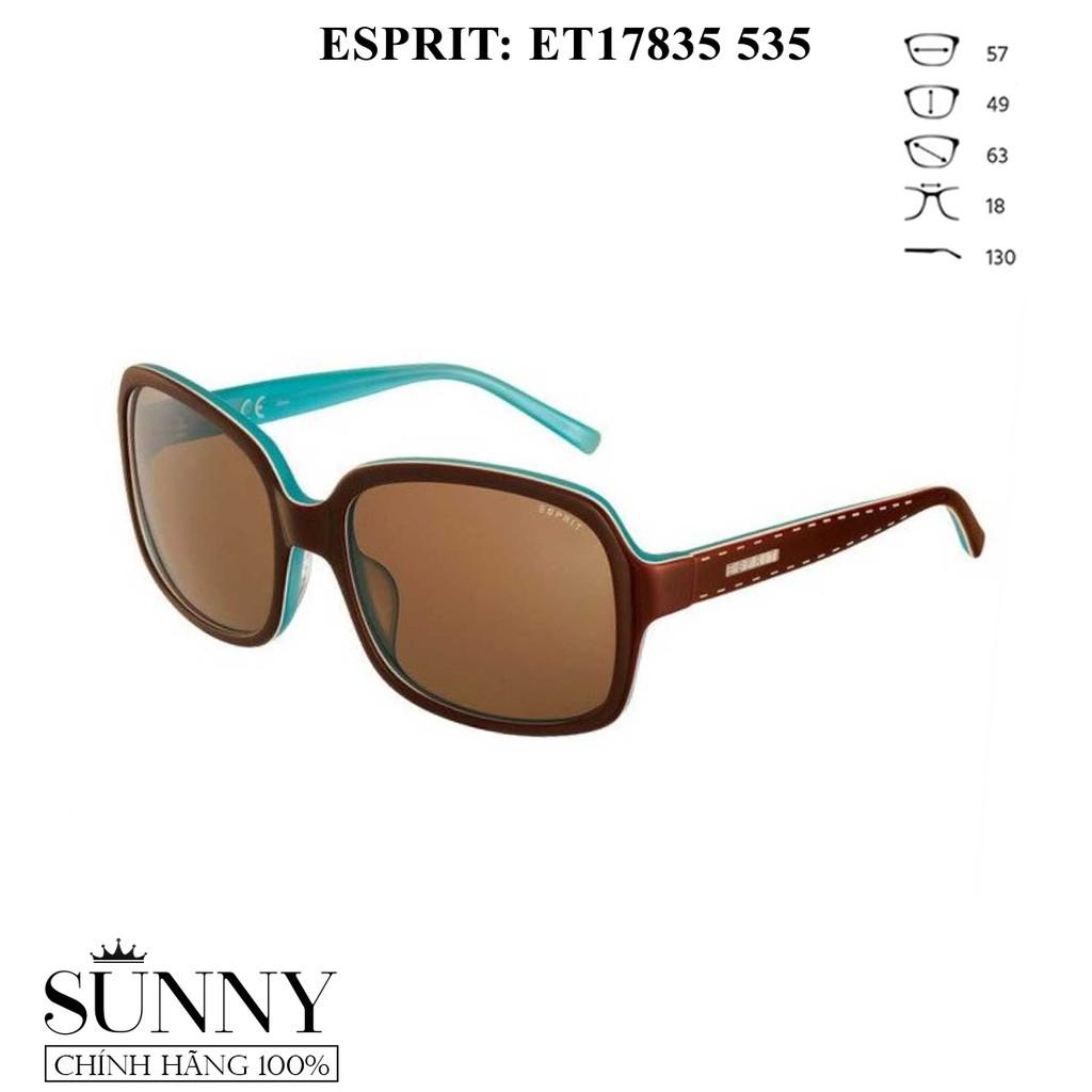 Kính mát nữ Esprit ET17835 535 - gọng vuông màu nâu phối xanh da trời