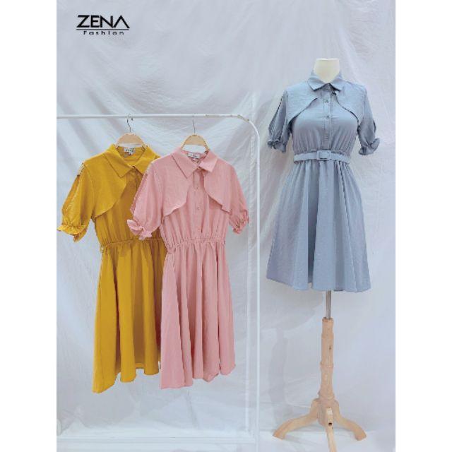 14080 Váy cổ đức choàng chun eo kèm đai