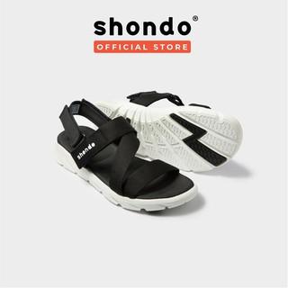 Giày Sandals SHONDO F6 Sport Quai Đen Đế Trắng - F6S003