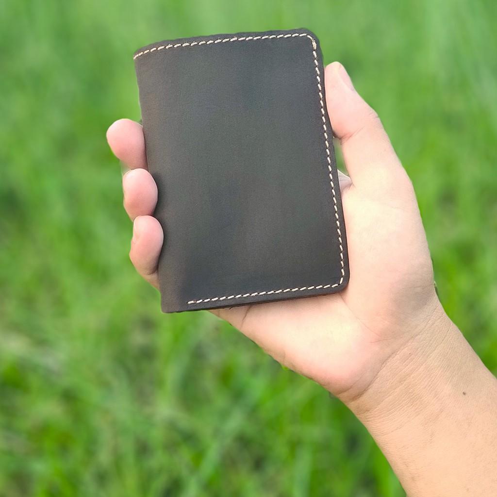 Ví đựng thẻ da sáp ngựa điên V125-Bụi Leather