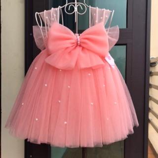 Váy tutu cho bé ❤️FREESHIP❤️ Váy tutu hồng cam nơ đính đá