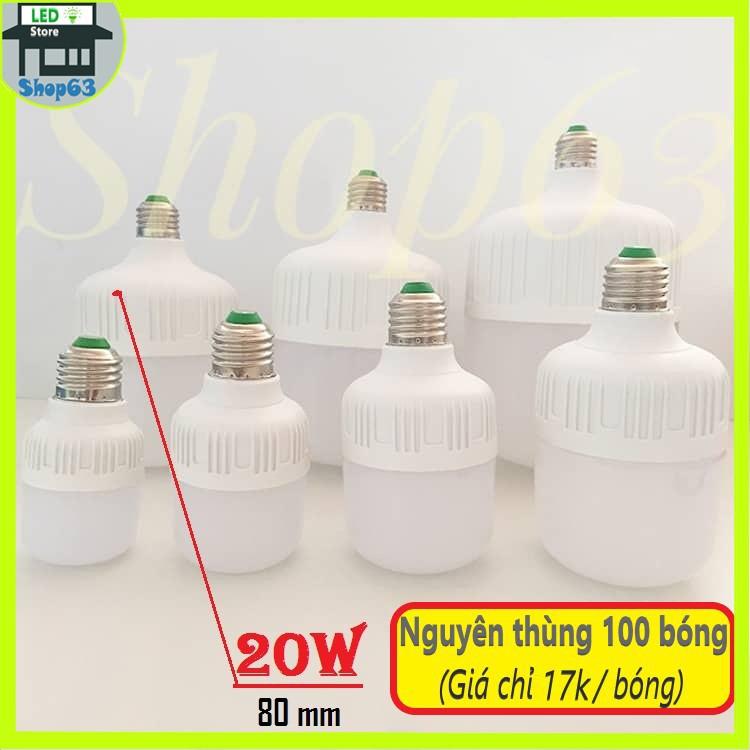 [Bán sỉ] nguyên thùng bóng đèn LED trụ tròn 20W ánh sáng trắng [100 bóng - bảo hành 1 năm]