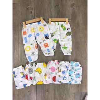 Combo 2 quần dài cotton giấy cho bé trai bé gái từ 4-15kg thumbnail