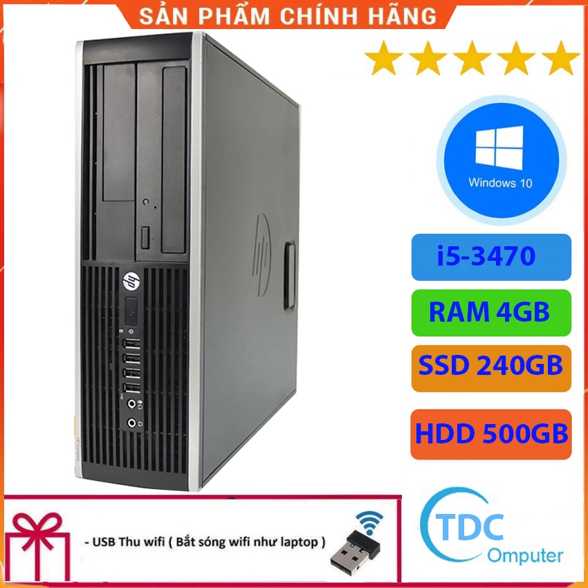 Case máy tính để bàn HP Compaq 6300 SFF CPU i5-3470 Ram 4GB SSD 240GB HDD 500GB Tặng USB thu Wifi, Bảo hành 12 tháng