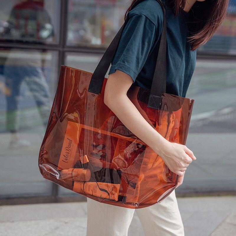 Túi trong suốt - Túi xách trong suốt đơn giản cá tính thời trang đường phố tiện lợi, Túi đi biển tiện dụng
