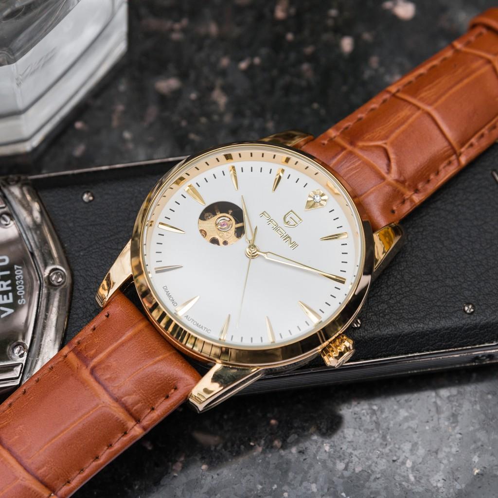 [Fullbox] Đồng hồ cơ nam chính hãng PAGINI lộ máy PA9988 dây da cao cấp có kim dạ quang