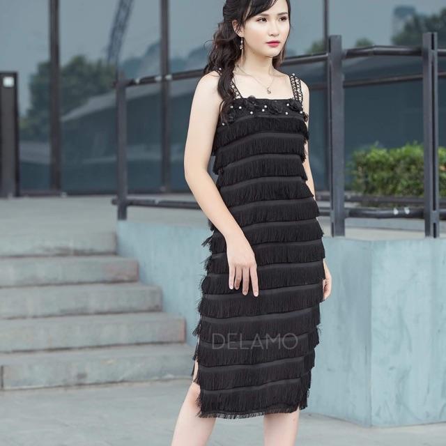 2407643182 - Váy đầm hai dây tua rua đính trai và hoa thiết kế cao cấp