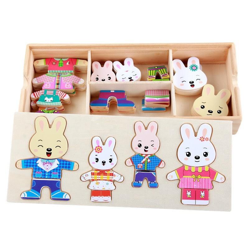 Bộ ghép hình gia đình thỏ đáng yêu bằng gỗ cho bé