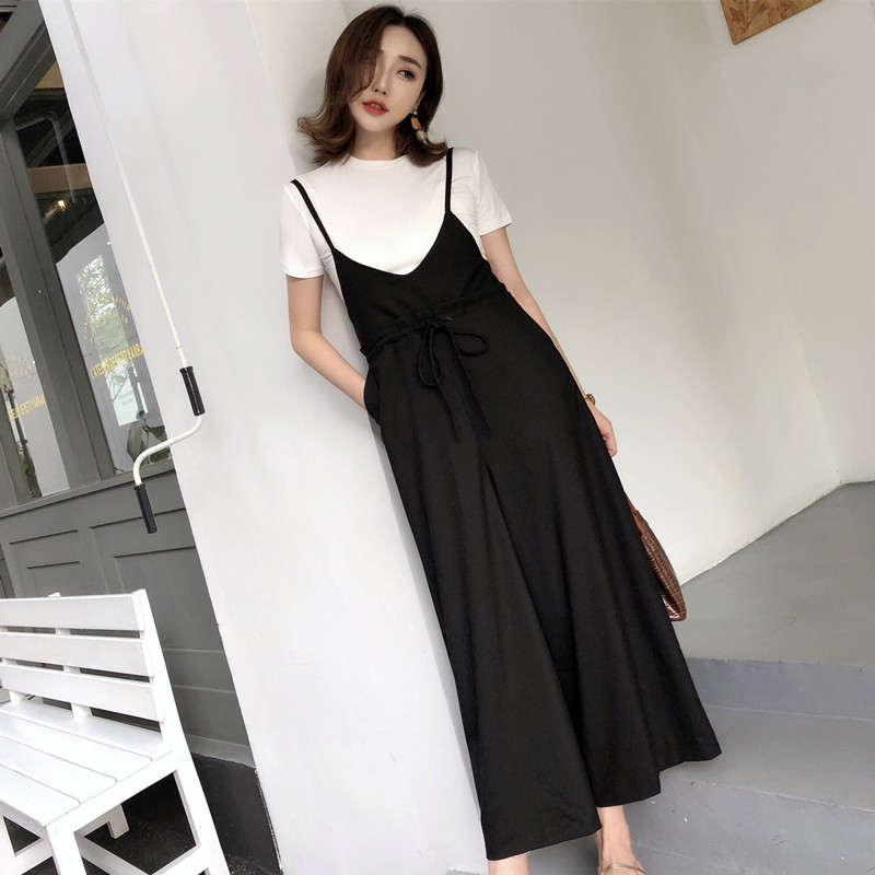 2019Kami ShinpoSeason new products temperament retro wide leg pants strap trousers high waist nine pants women's net red