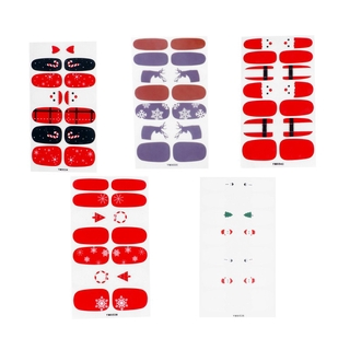 5 Sheets Christmas Adhesive Nail Polish Stickers Manicure Patches Nail Wraps Decal