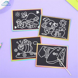 HD 10Pcs Scraping Papers Children's Creative DIY Scratch Drawing Colorful Graffiti Toys