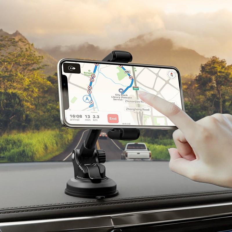 Giá đỡ điện thoại ô tô CHÍNH HÃNG HOCO S12 Lite gắn taplo/  kính chắn gió xe, tay kéo dài xoay 360 độ, kẹp rất chắc chắn