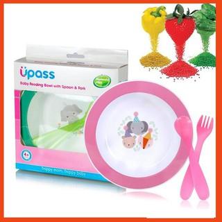 Bộ Bát Ăn dặm hữu cơ Upass kèm 2 dụng cụ thìa và dĩa cho bé – [Hình Thật] ❤