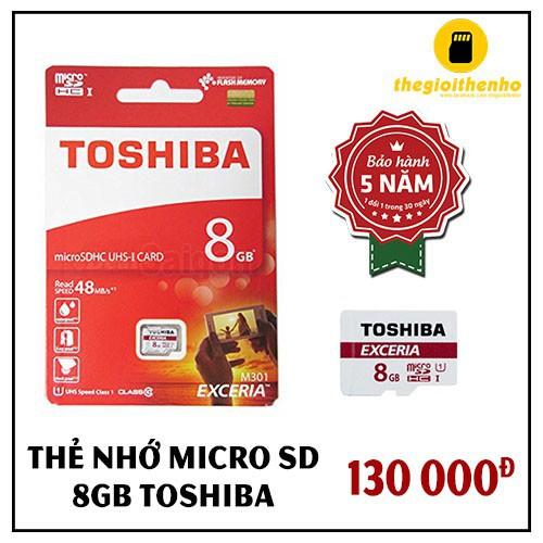 Thẻ nhớ Micro SD 8GB TOSHIBA CLASS 10 - HÀNG CHÍNH HÃNG