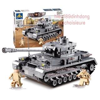 Lắp ráp xếp hình non Lego City Sembo block 82010 : siêu tank Panzer IV phát xít Đức 1193 mảnh