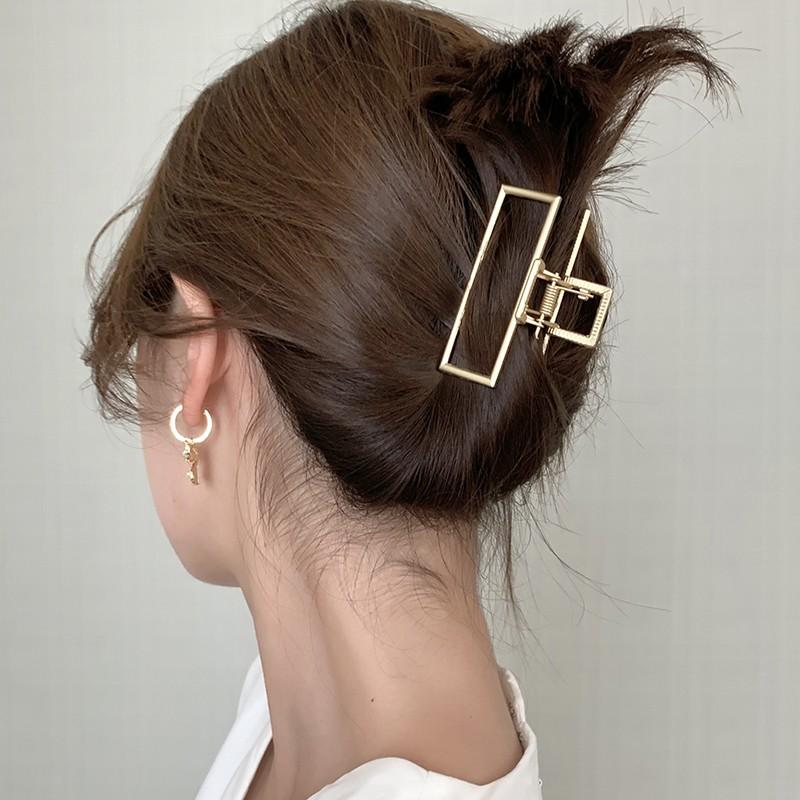 Kẹp tóc thiết kế hình học chất liệu hợp kim phong cách Hàn Quốc dài 8cm thời trang cho nữ