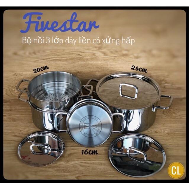 Bộ nồi inox Fivestar 3 lớp đúc liền - inox 304 - 13927867 , 2458391285 , 322_2458391285 , 1259000 , Bo-noi-inox-Fivestar-3-lop-duc-lien-inox-304-322_2458391285 , shopee.vn , Bộ nồi inox Fivestar 3 lớp đúc liền - inox 304
