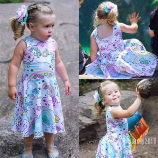 Mu♫-Kids Baby Girls Cotton Unicorn Tutu Dress Sundress