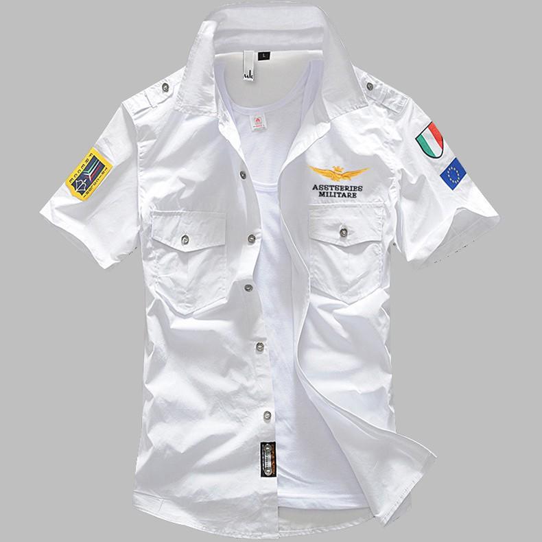 Sơ mi nam SM104 - Áo sơ mi nam cộc tay ASSTESRIES 100% cotton cao cấp phong cách Pilot độc đáo