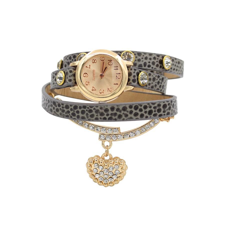 Đồng hồ dây giả da đính đá hình trái tim dành cho nữ