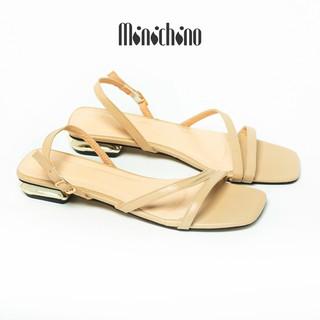 Giày sandal nữ gót cao 2cm MINICHINO nhung nỉ gót vuông, phối dây thời trang màu kem TC011 thumbnail