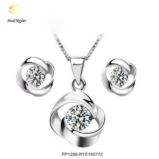 Combo dây chuyền và bông tai bạc Ý 925 Huệ Ngân - Vòng xoắn PP1288-RYE140772