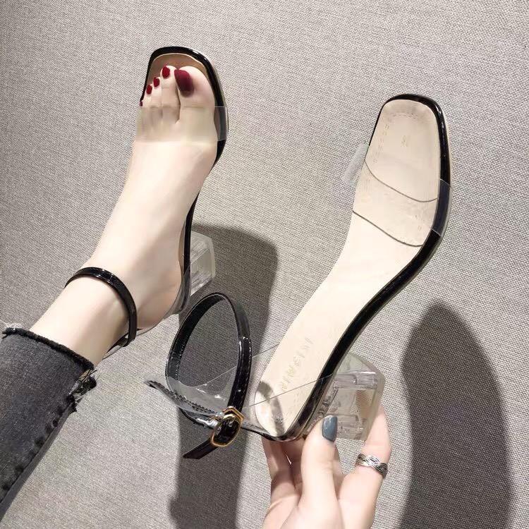 [SIÊU HOT] Giày cao gót nữ quai trong đế cao 5 phân 2 màu đen trắng