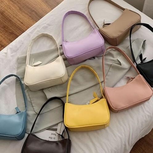 Túi xách đeo vai kết cấu đơn giản màu trơn phong cách retro cho nữ