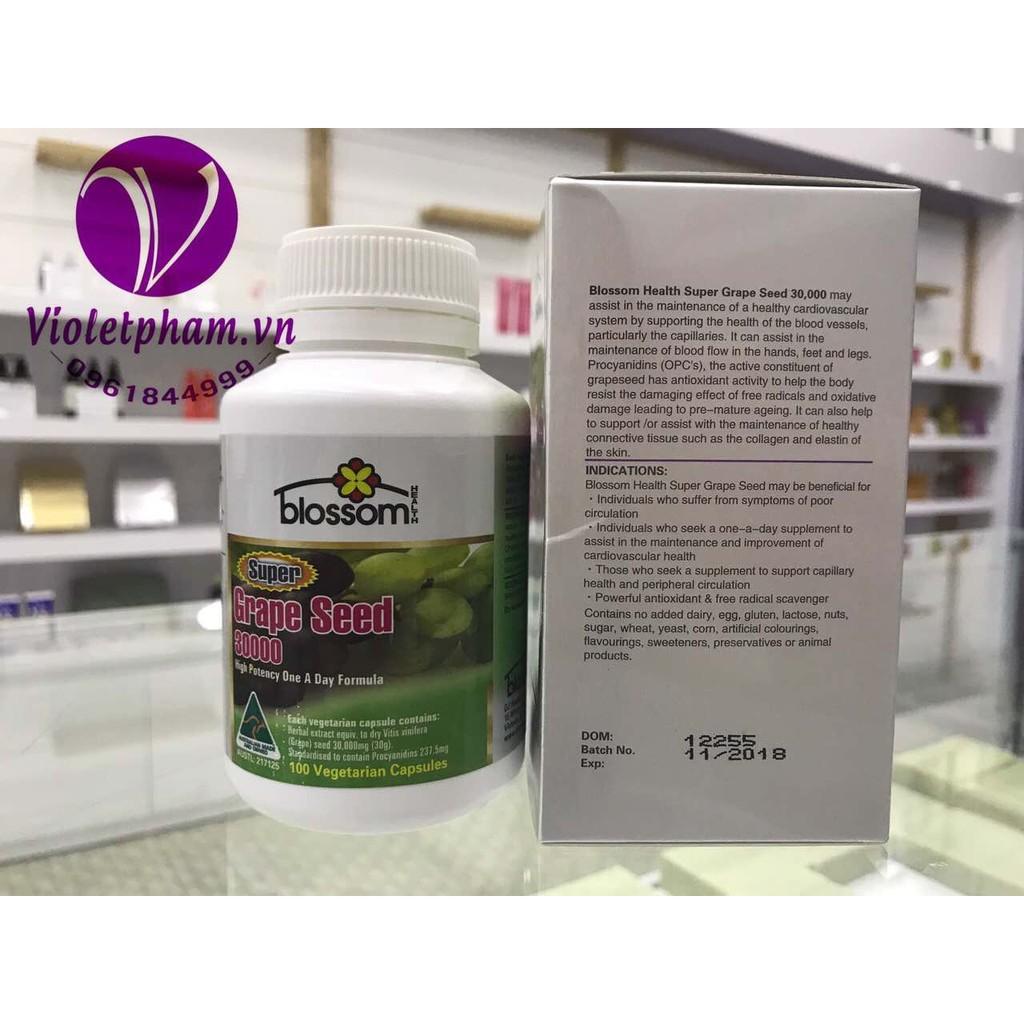 Viên uống tinh chất hạt nho bổ tim Blossom Super Grape Seed 30000 100v - 2782660 , 207021480 , 322_207021480 , 599000 , Vien-uong-tinh-chat-hat-nho-bo-tim-Blossom-Super-Grape-Seed-30000-100v-322_207021480 , shopee.vn , Viên uống tinh chất hạt nho bổ tim Blossom Super Grape Seed 30000 100v