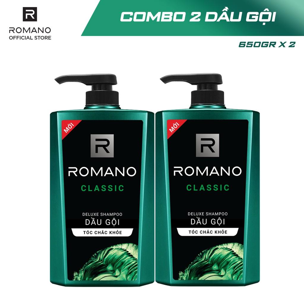 [Mã COSMALL25 -10% ĐH 250K]Combo 2 Dầu gội Romano hương nước hoa 650g/chai