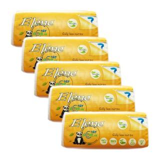 Lốc 5 gói Khăn Giấy Tre bỏ túi - Elène Tre 300 tờ (100 Tờ/Bịch x 3 lớp)