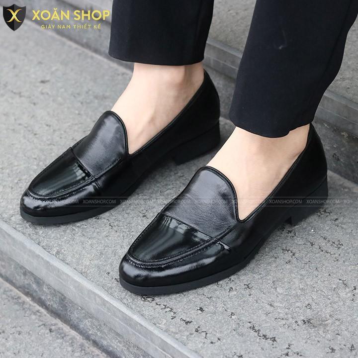 Giày Lười Nam - Da Bò Nguyên Tấm 100%, Đế Cao Su Đúc  Khâu Cao 3cm - Mã X101 Màu Đen Bóng