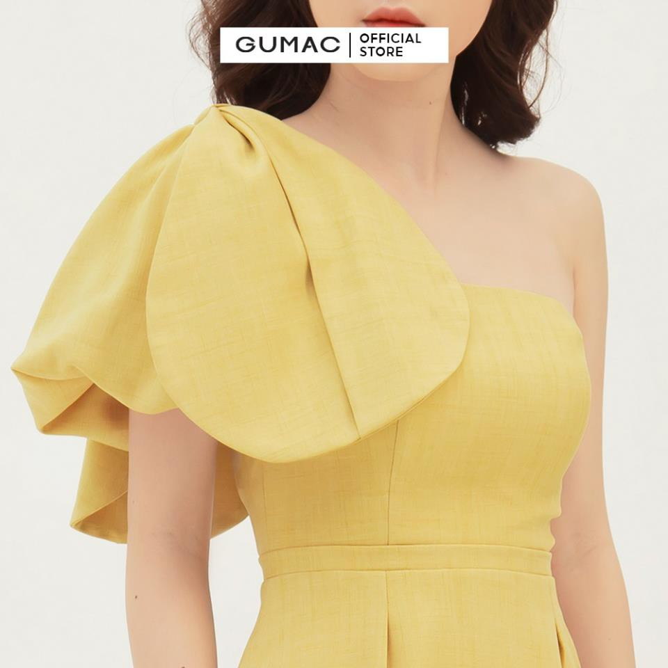 [Freship 10k] Đầm dự tiệc cúp ngực GUMAC thiết kế nơ sang chảnh, màu vàng đủ size DB374