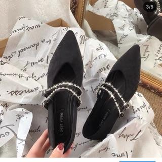giày da lộn mũi nhọn búp bê nữ