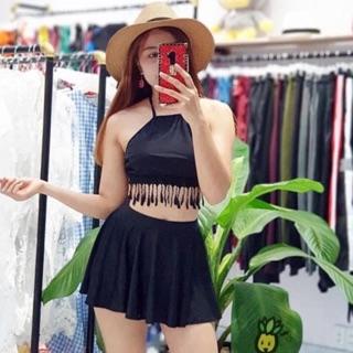 Bikini hai mảnh váy xòe đồ bơi bộ bơi đẹp yếm đen tua rua đẹp sexy giá rẻ ( Kèm ảnh khách)