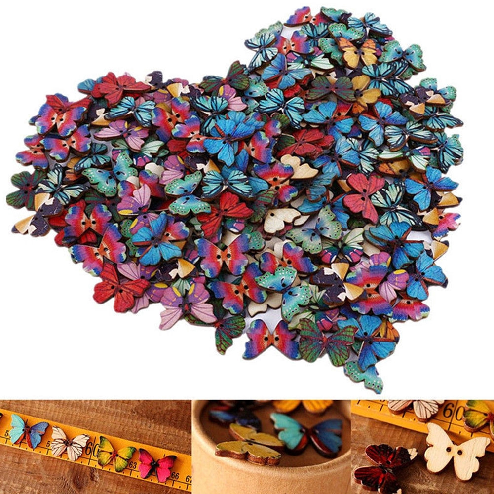 Scrapbooking Wooden Phantom DIY Buttons Cartoon Colored Drawing Decoration Butterfly Sewing 50PCS