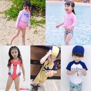 Bộ đồ bơi liền thân và bikini cho bé trai bé gái tặng kèm mũ bơi thumbnail