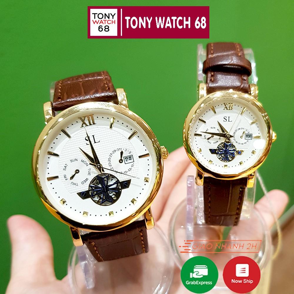 Đồng hồ cặp đôi nam nữ đeo tay SL dây da viền vàng lộ máy đẹp thời trang giá rẻ Winsley