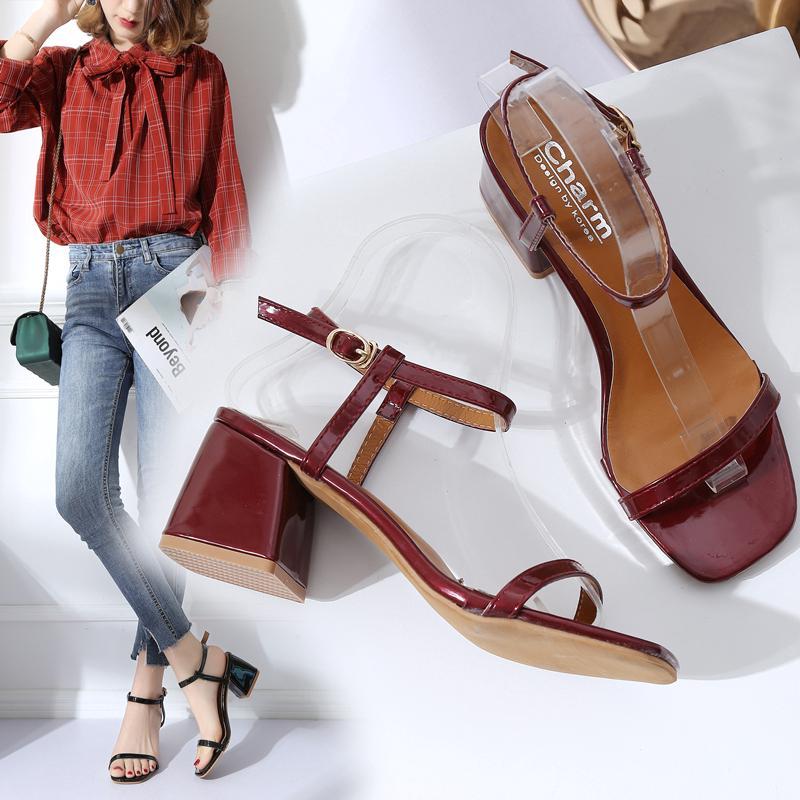 Giày sandal gót vuông thời trang công sở thanh lịch cho nữ