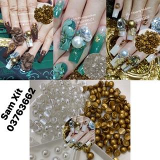 Hạt châu nửa đính móng nail 2 màu (trắng, nâu) size 6mm,8mm thumbnail