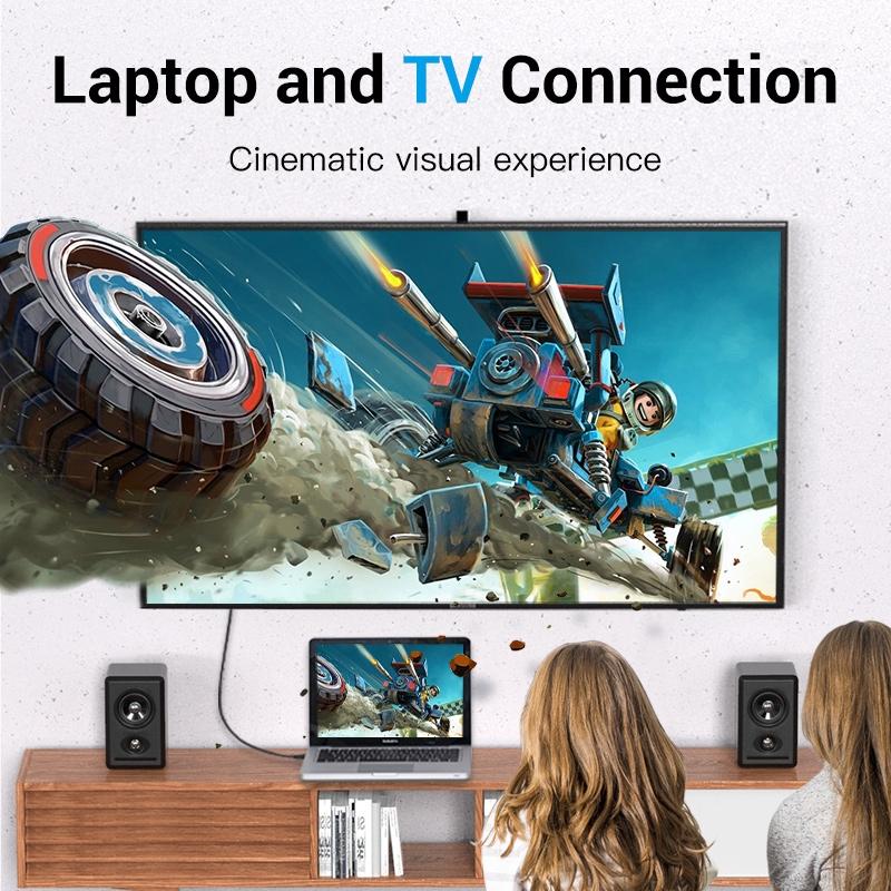 Cáp VENTION Chuyển Cổng Cắm Displayport Mini Sang Phích Cắm HDMI 4K 30HZ Dành Cho Macbook iMac