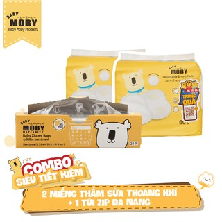 Combo, 2 Bịch miếng thấm sữa Moby thoáng khí 1 Hộp túi zip đa năng Moby