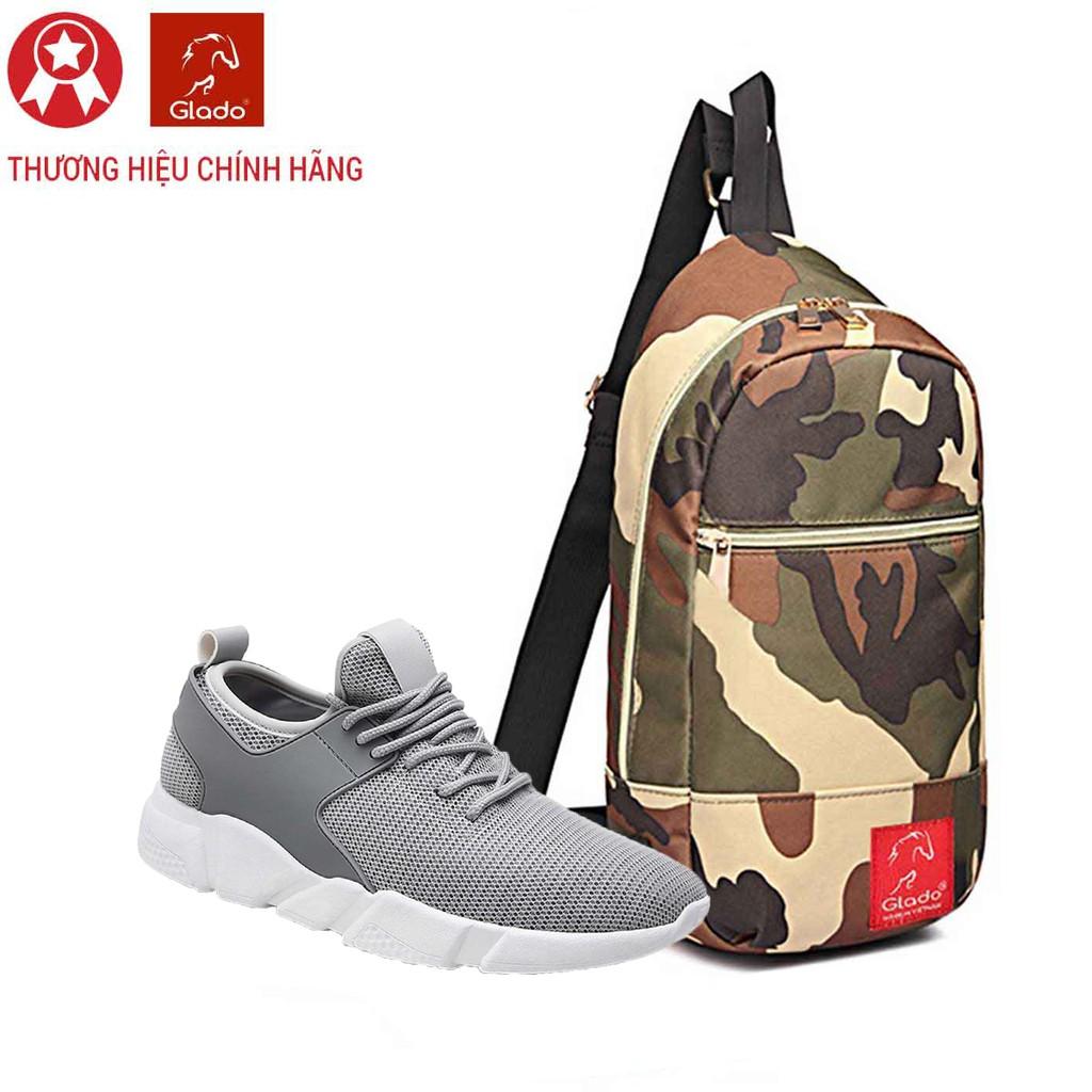 Combo Túi Messenger Thời Trang Glado DCG028 (Màu Xanh Lính) + Giày Sneaker GS080 (Xám)